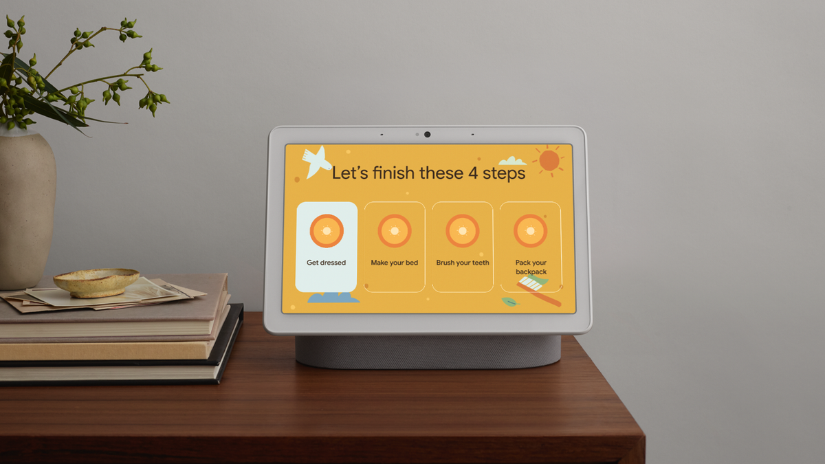 A Google Nest Hub with the Family Bell feature, a checklist for kids.