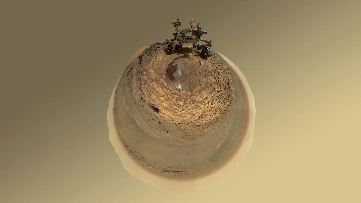 NASA's Curiosity rover shot with a fisheye lens.
