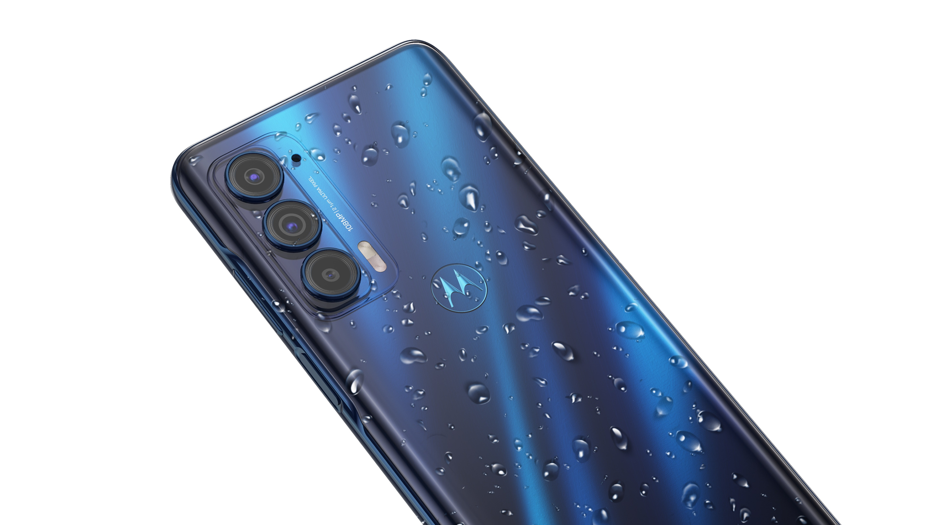 The 2021 Motorola Edge in blue covered in water.