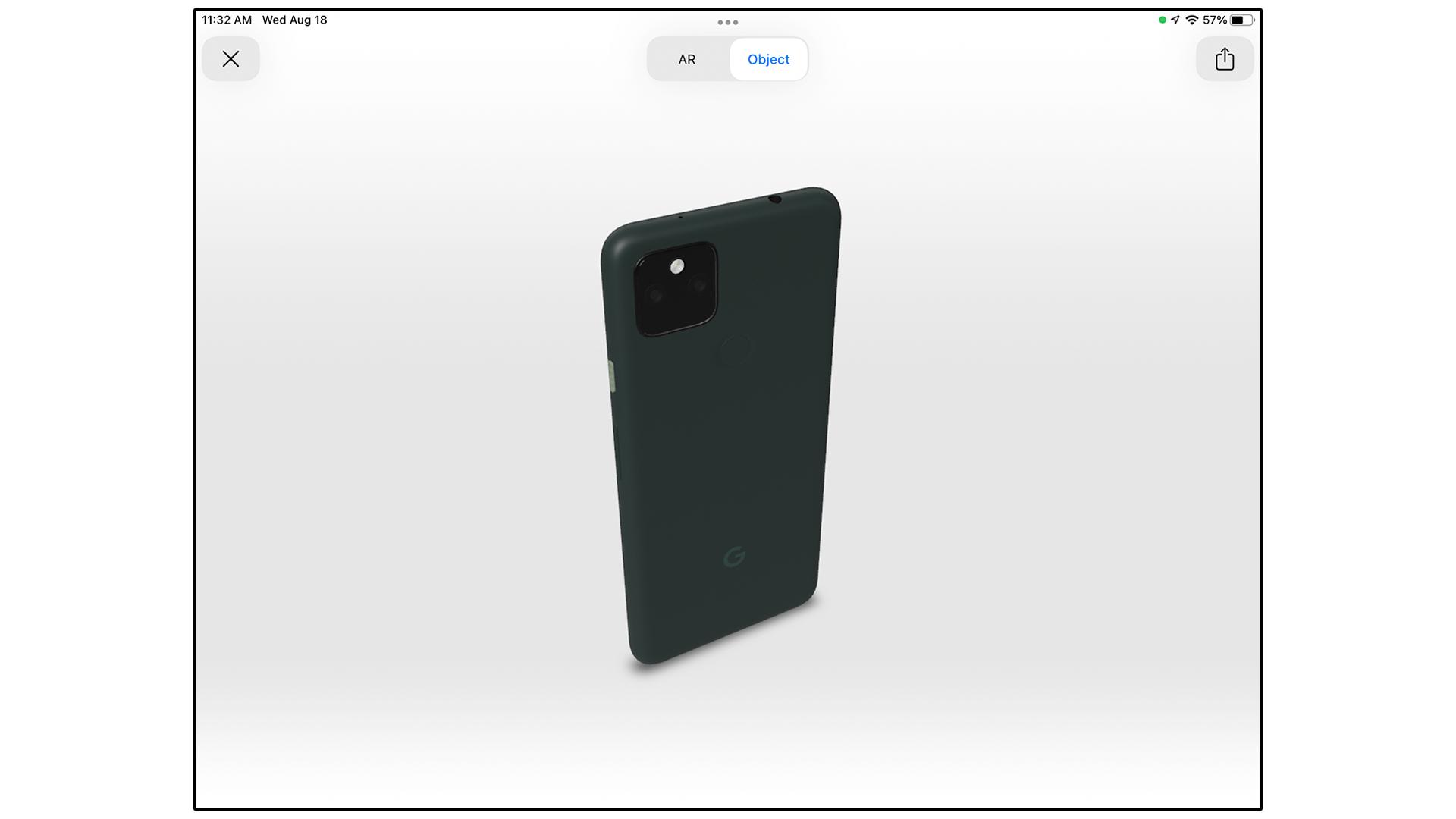 A 3D model of the Pixel 5a.