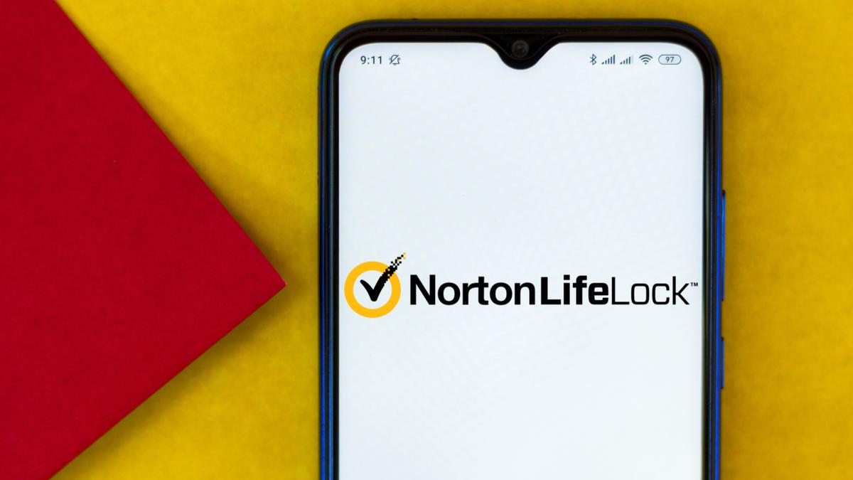 Illustration the NortonLifeLock logo displayed on a smartphone