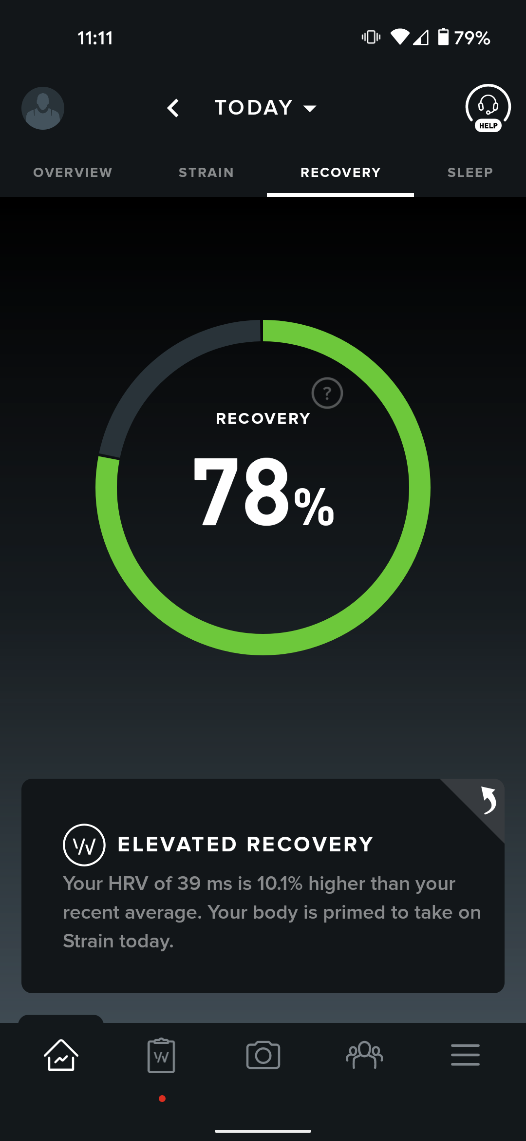 Whoop's recovery feature