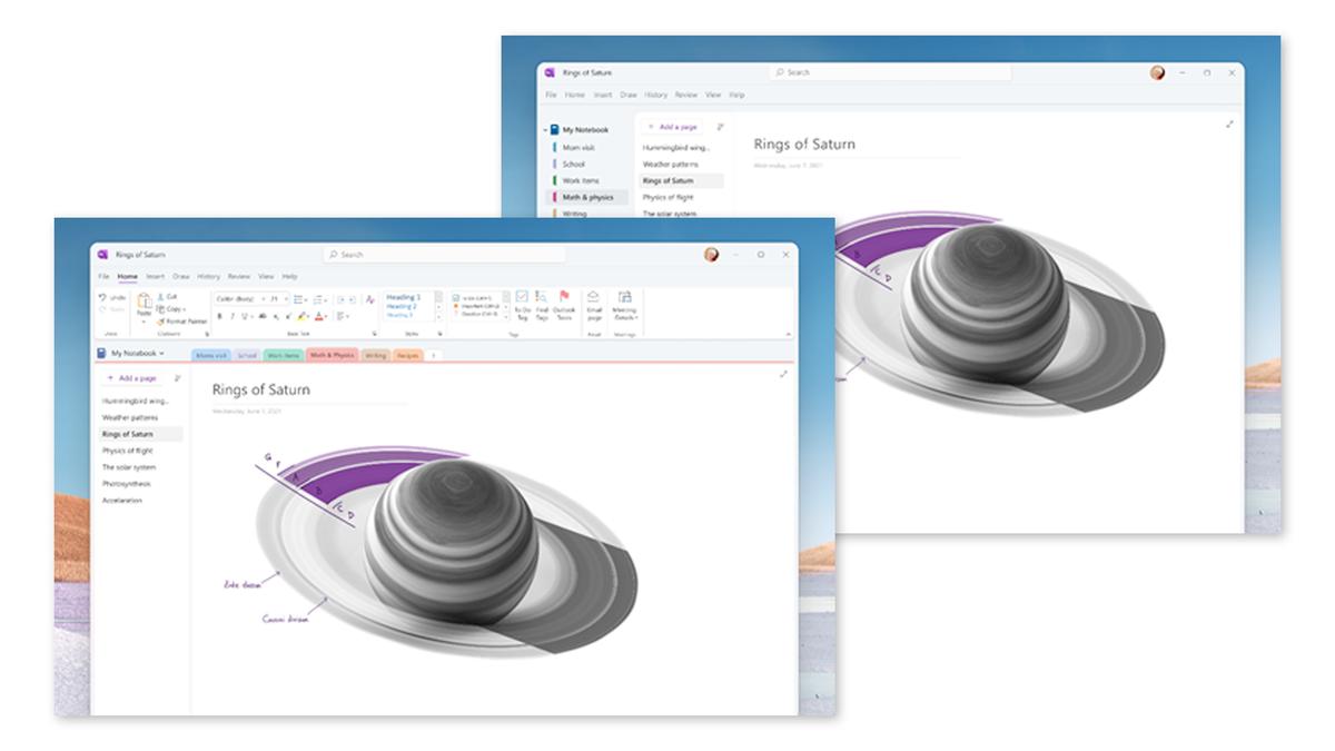 The Windows 11 OneNote redesign.