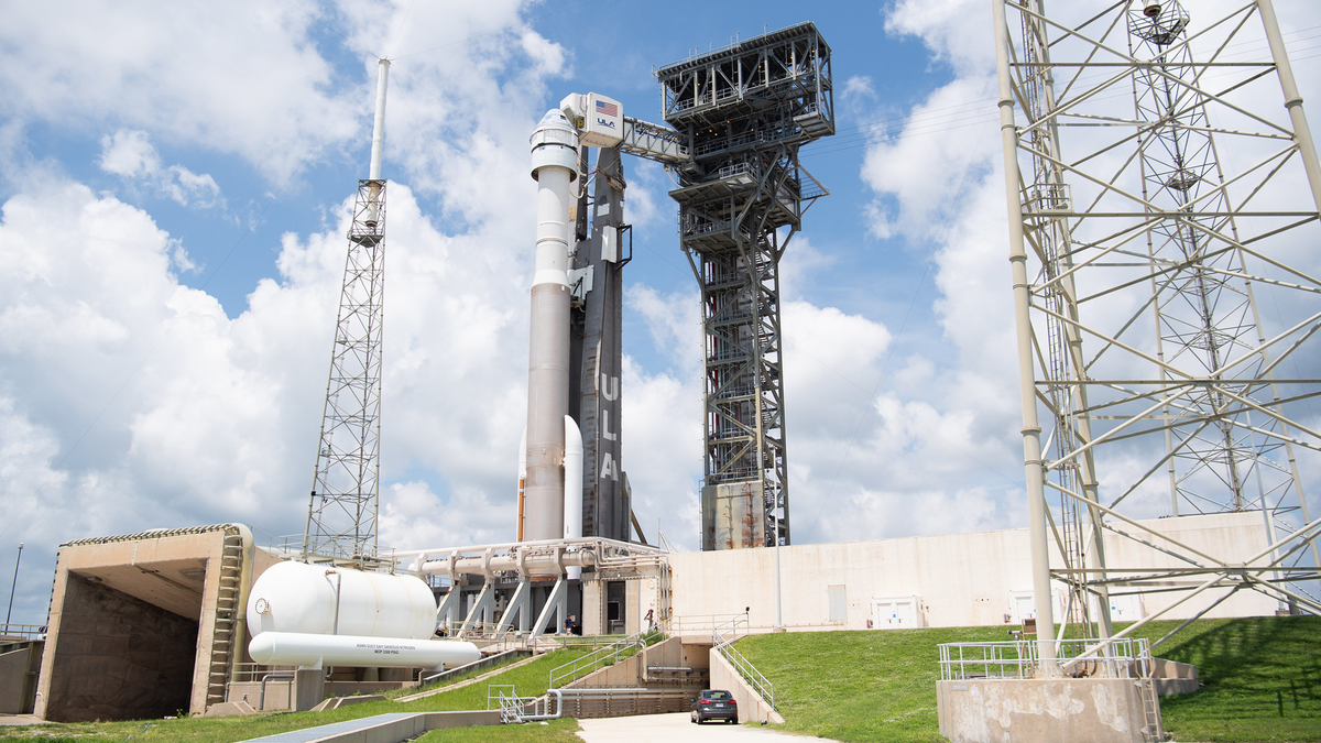 A United Launch Alliance Atlas V rocket with Boeing's CST-100 Starliner spacecraft onboard is seen on the launch pad at Space Launch Complex 41.