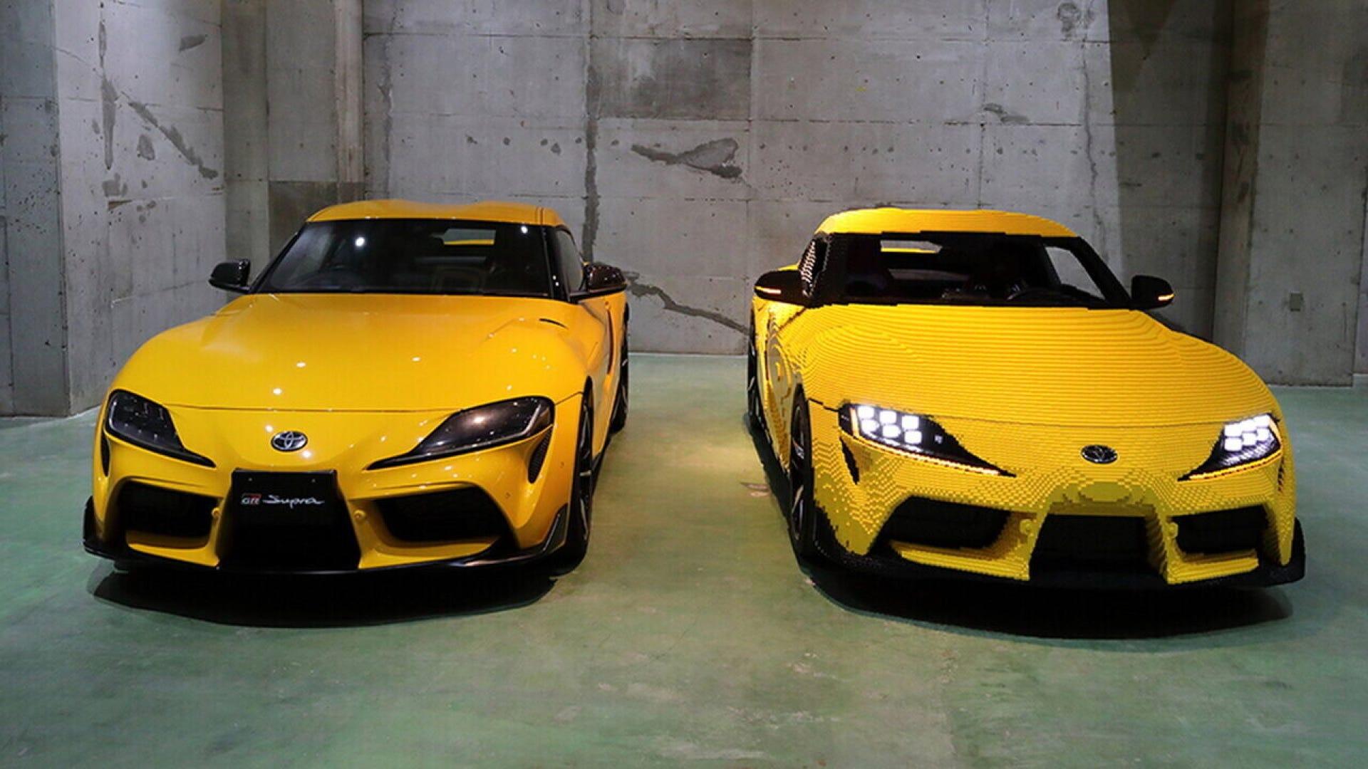 Toyota Supra next to LEGO Supra GR