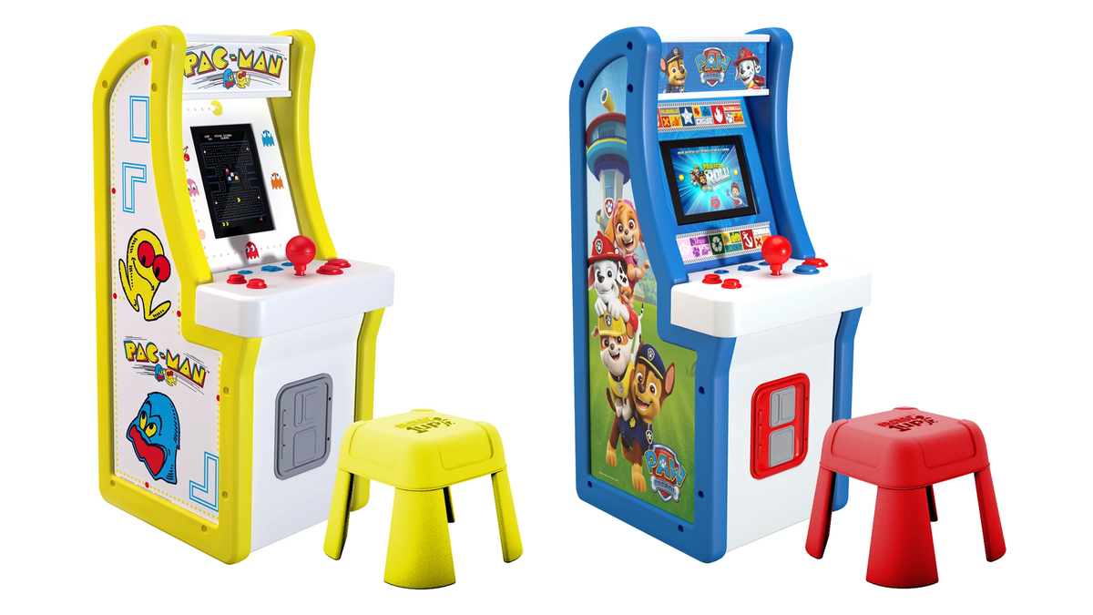 Arcade1Up's Pac-Man and Paw Patrol machines for kids.