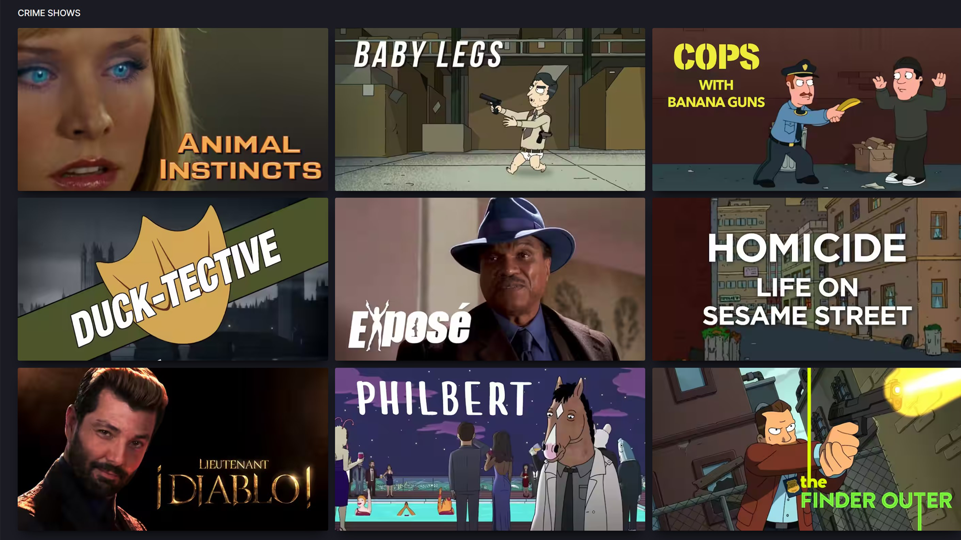 """The """"Crime Shows"""" section of Nestflix"""