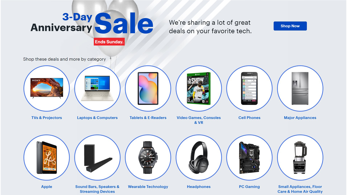 Best Buy 3-Day Anniversary Sale verbiage on website with pictures of various items included in sale