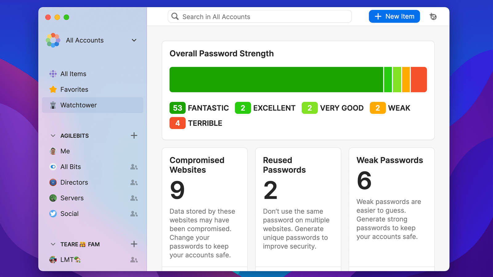 1Password 8 for Mac's improved Watchtower function for password health