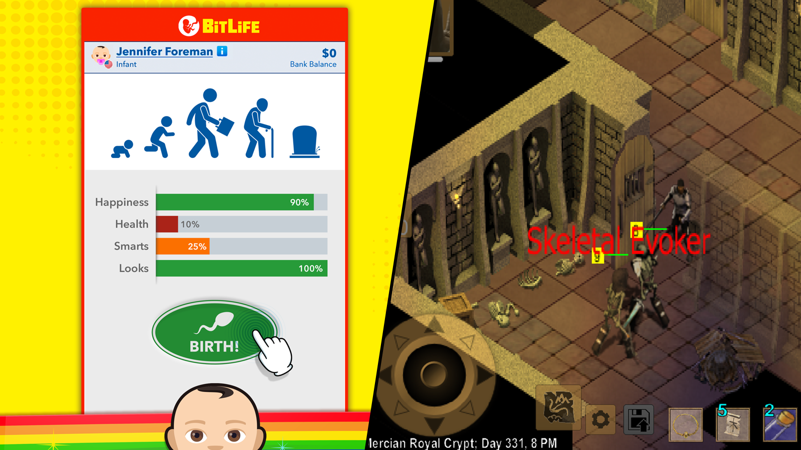 Split-screen of BitLife and Exiled Kingdom