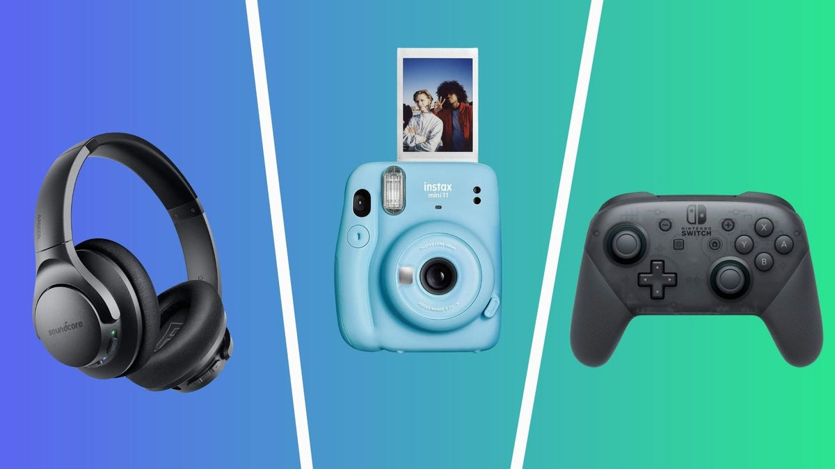 the best tech under $75 including anker soundcore headphones, fujifilm instax mini instant camera, and nintendo switch pro controller
