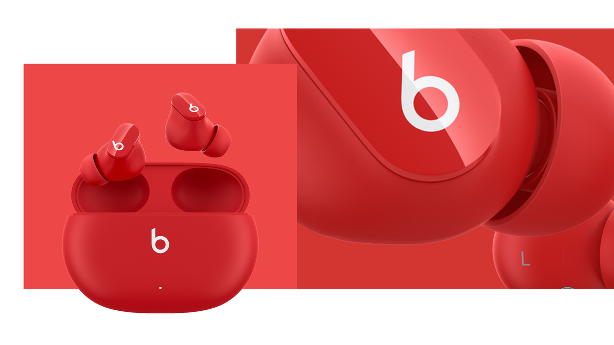 A photo of the red Beats Studio Buds on a red background.