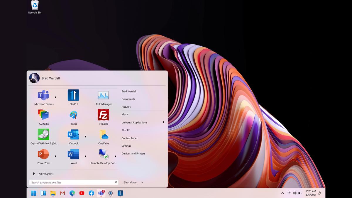 One possible Start11 menu configuration option