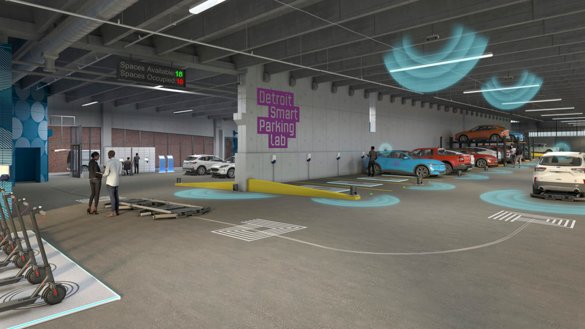 An illustration of smart cars in the Detroit Parking Lab.