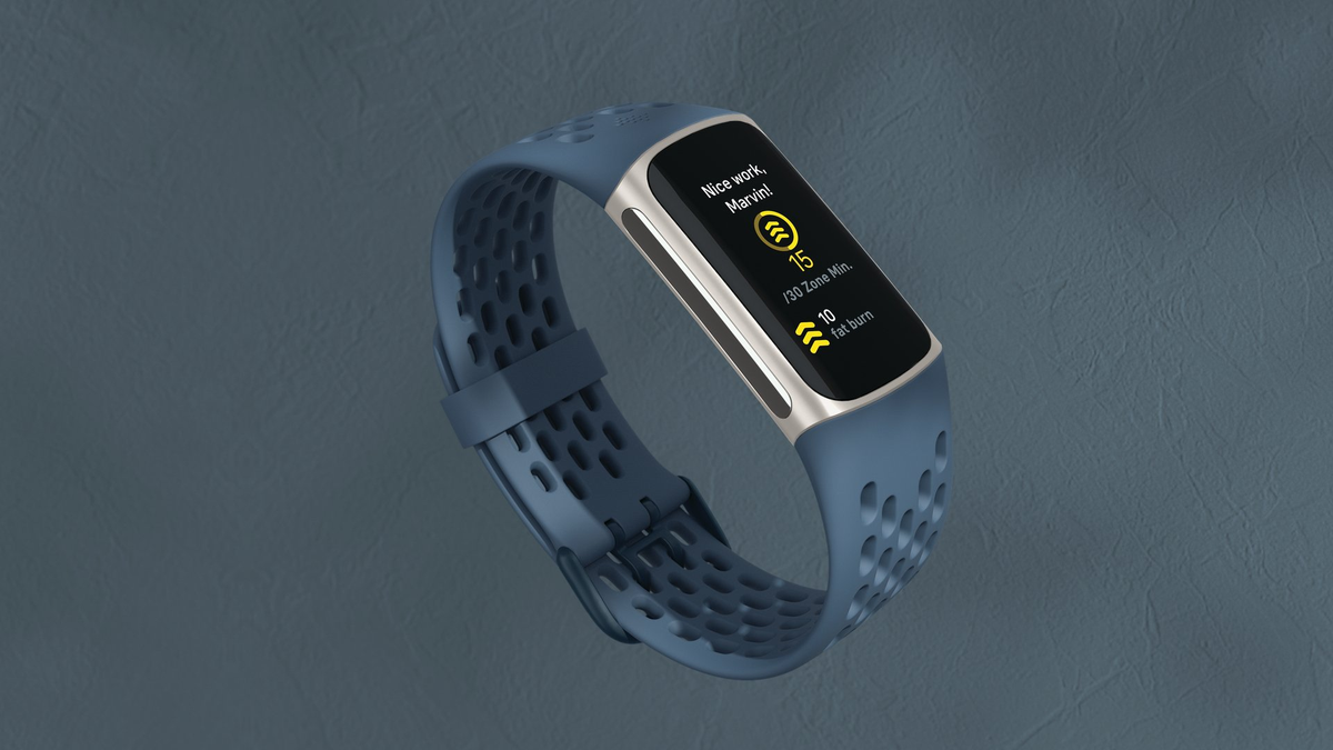 A photo of the Fitbit Charge 5 in blue. It has a full-color display.