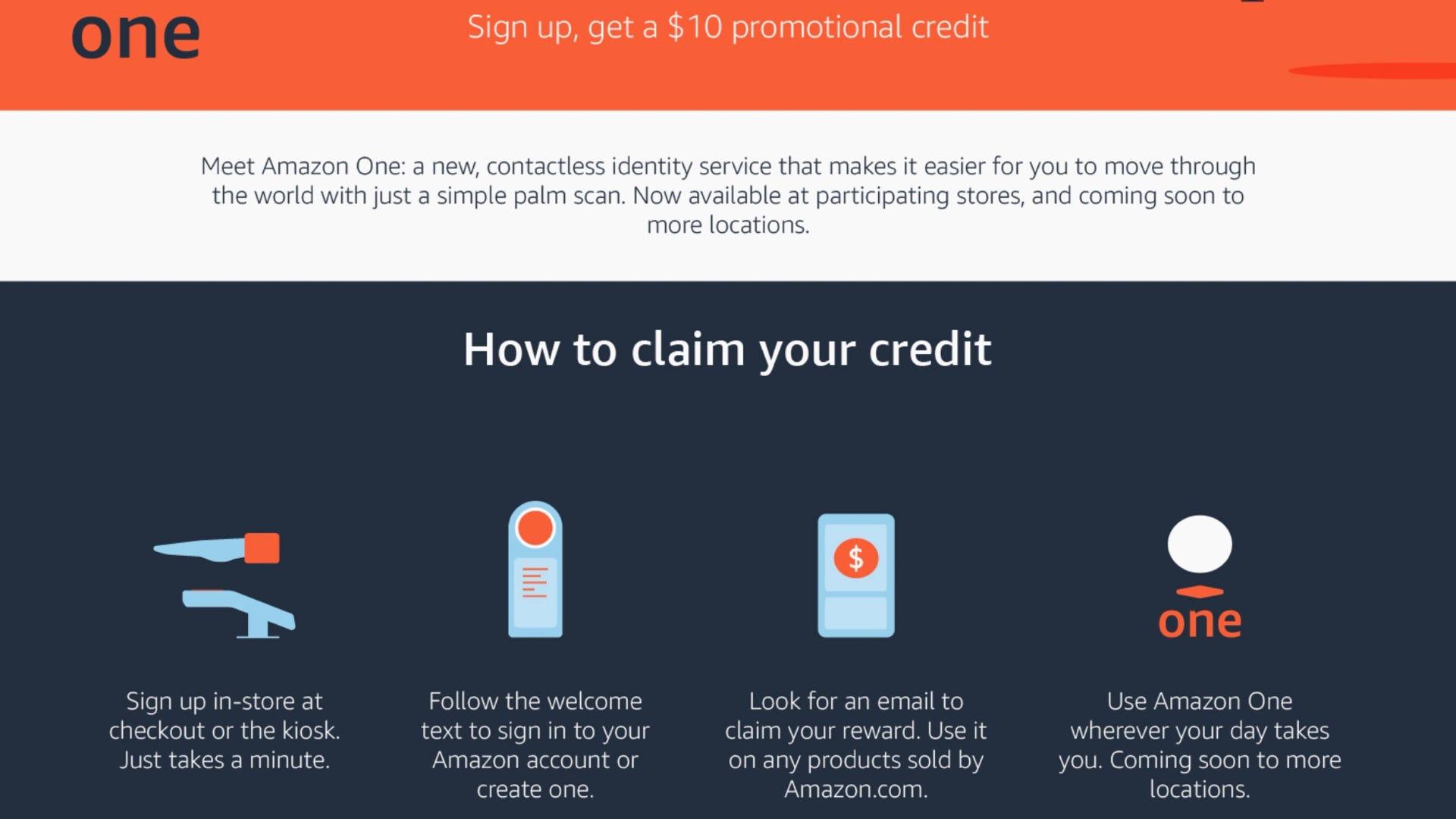 Amazon palm scan credit promo
