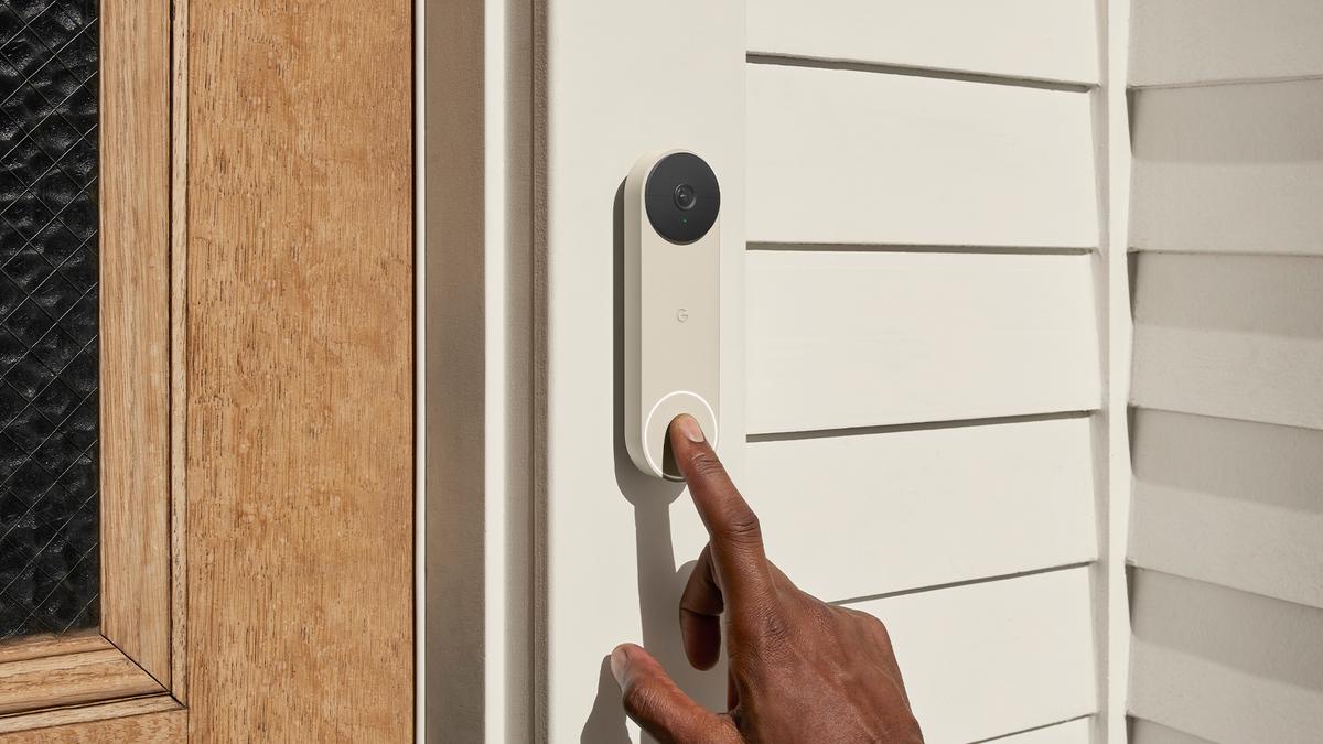 The Google Nest Doorbell in Ash color.