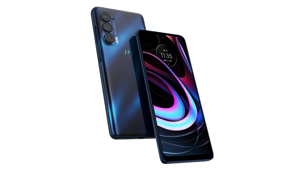 The 2021 Motorola Edge in blue.