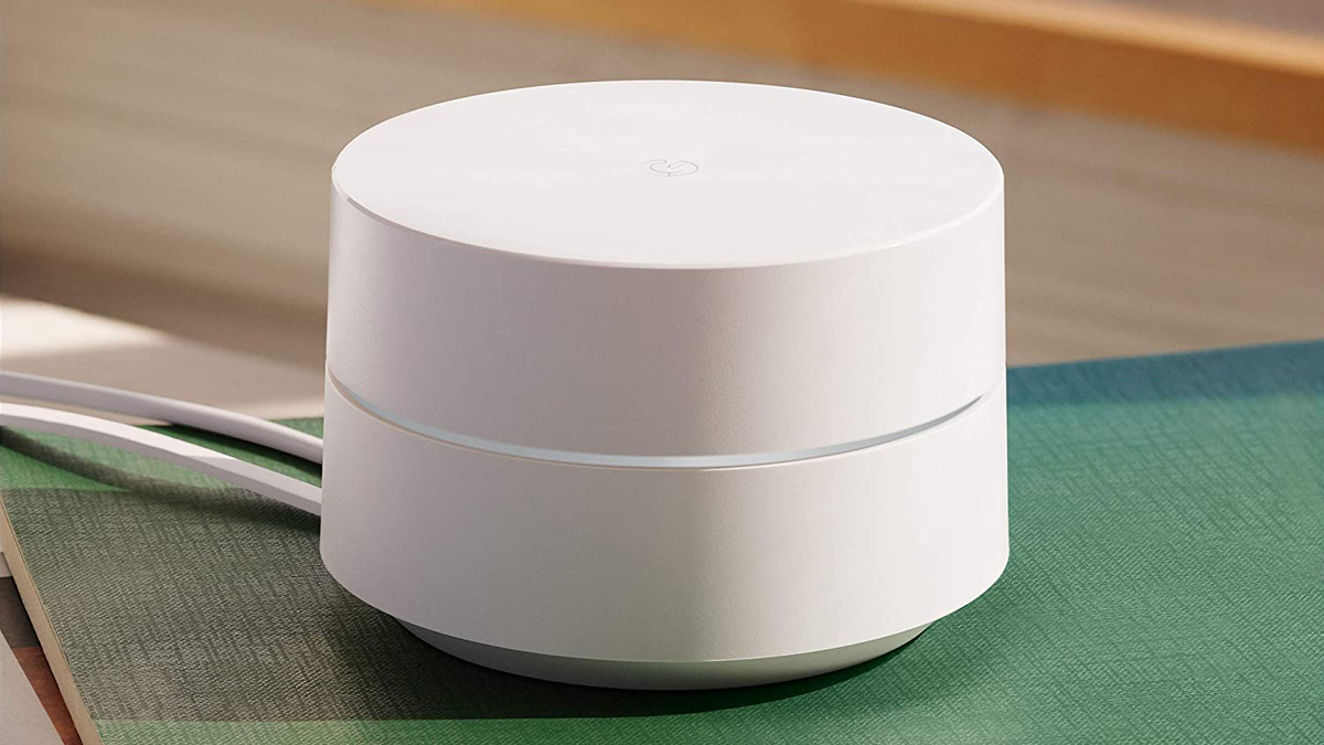 Google Wifi Mesh Router on colorful table