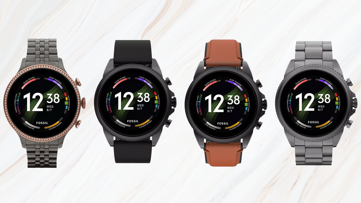 Leaked photos of four Fossil Gen 6 smartwatch versions against a marble pattern texture background
