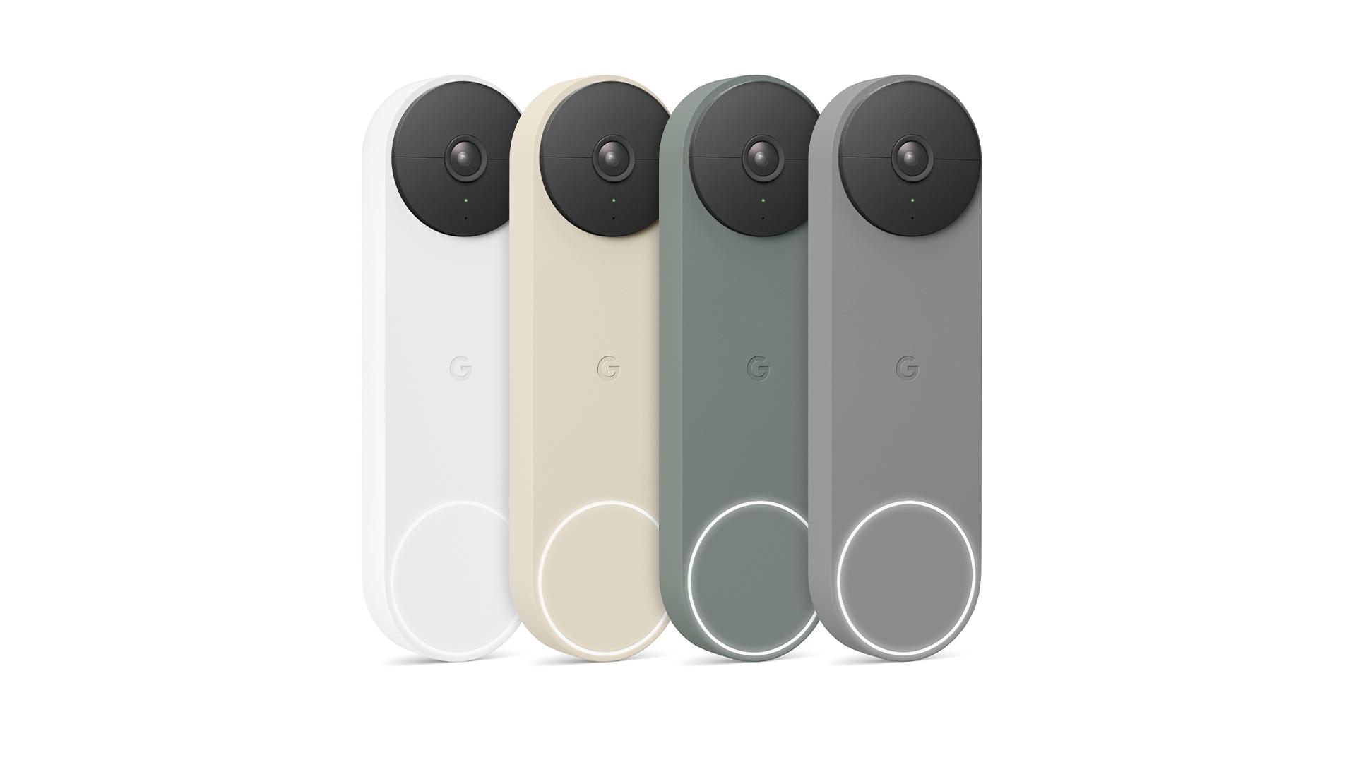 The Google Nest Doorbell in four colors.