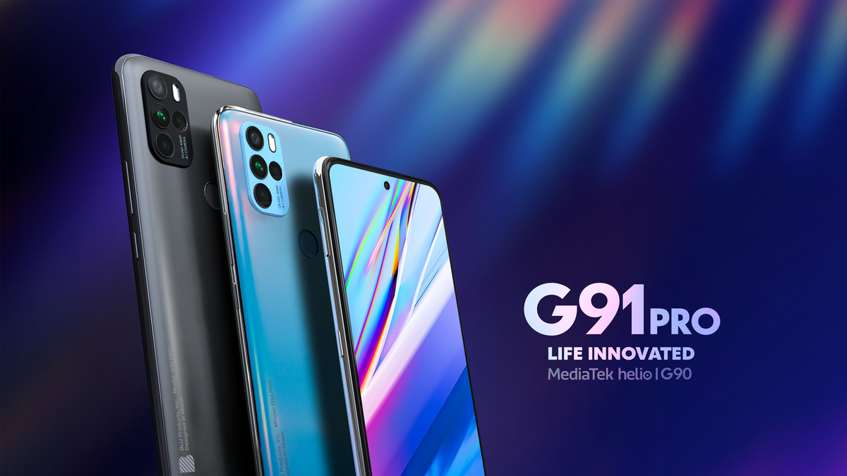 The Blu G91 Pro gaming phone in gray and blue.