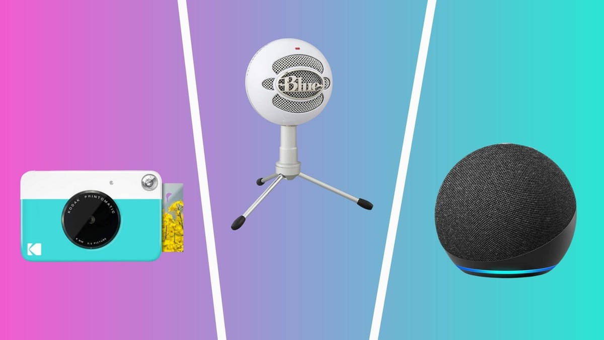 the best tech under 50 dollars including kodak printomatic, blue snowball ice microphone, and amazon echo dot
