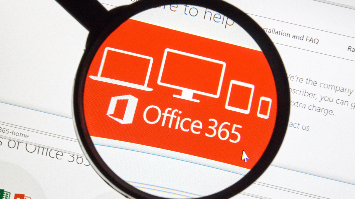 Microsoft Office 365 on the web under magnifying glass