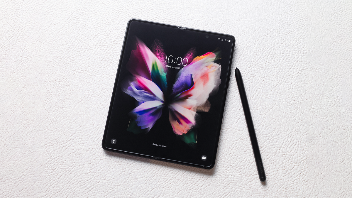 The Samsung Galaxy Fold3 with an S Pen.