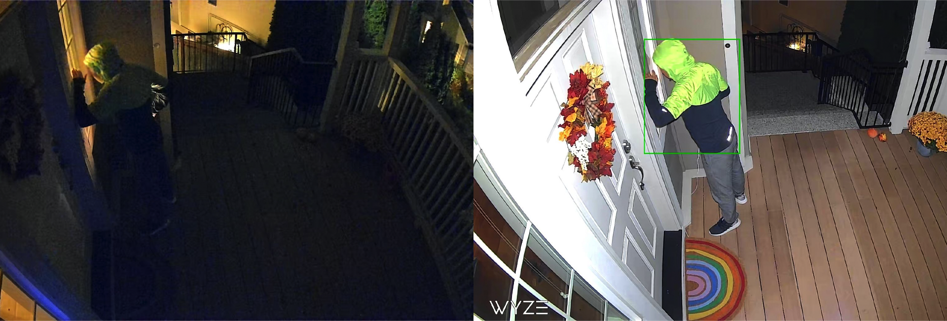 Photos of a man knocking on a door at night with the Wyze Cam Spotlight turned on and off.