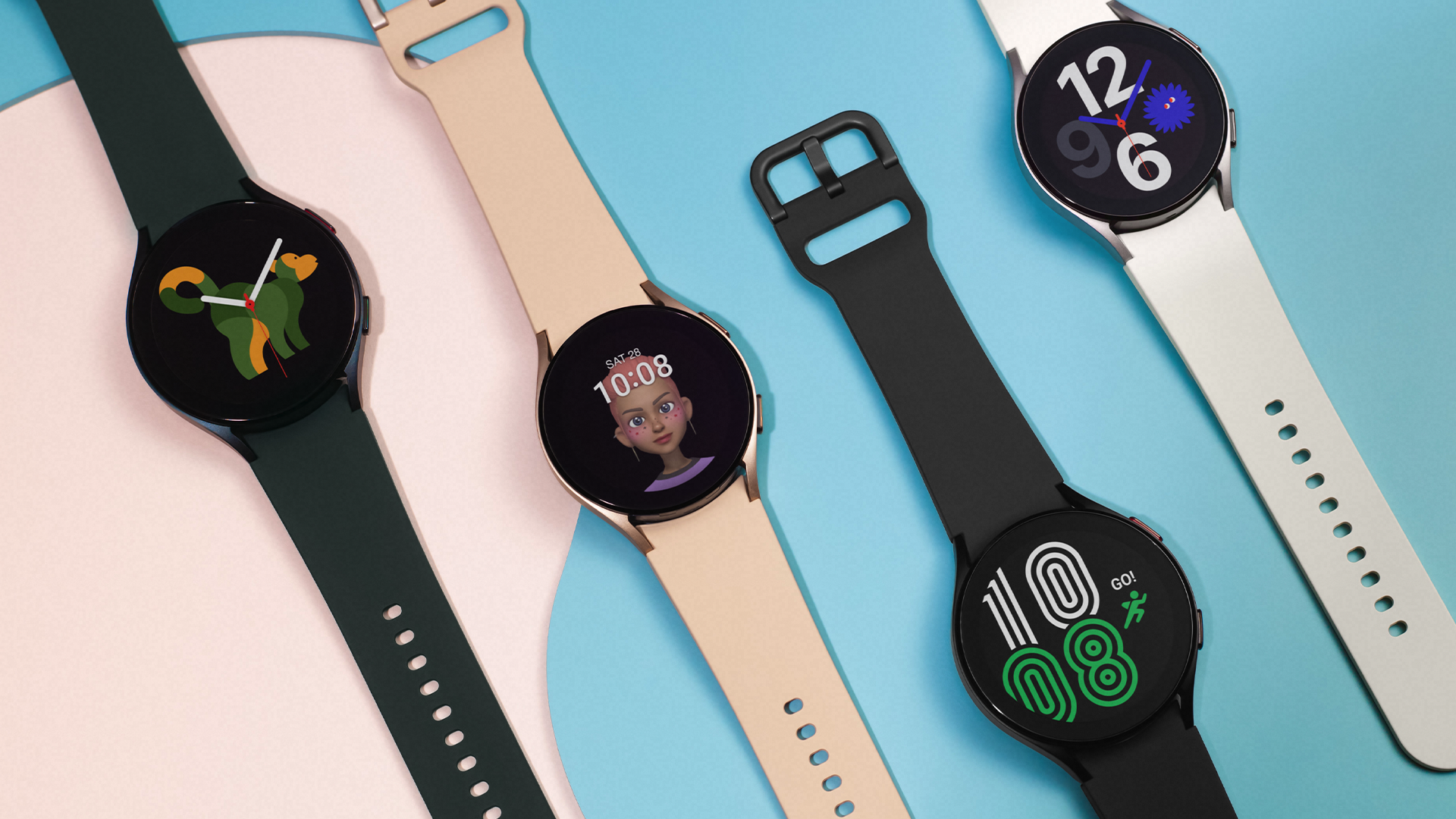 The Samsung Galaxy Watch 4 in black, white, green, and champagne.