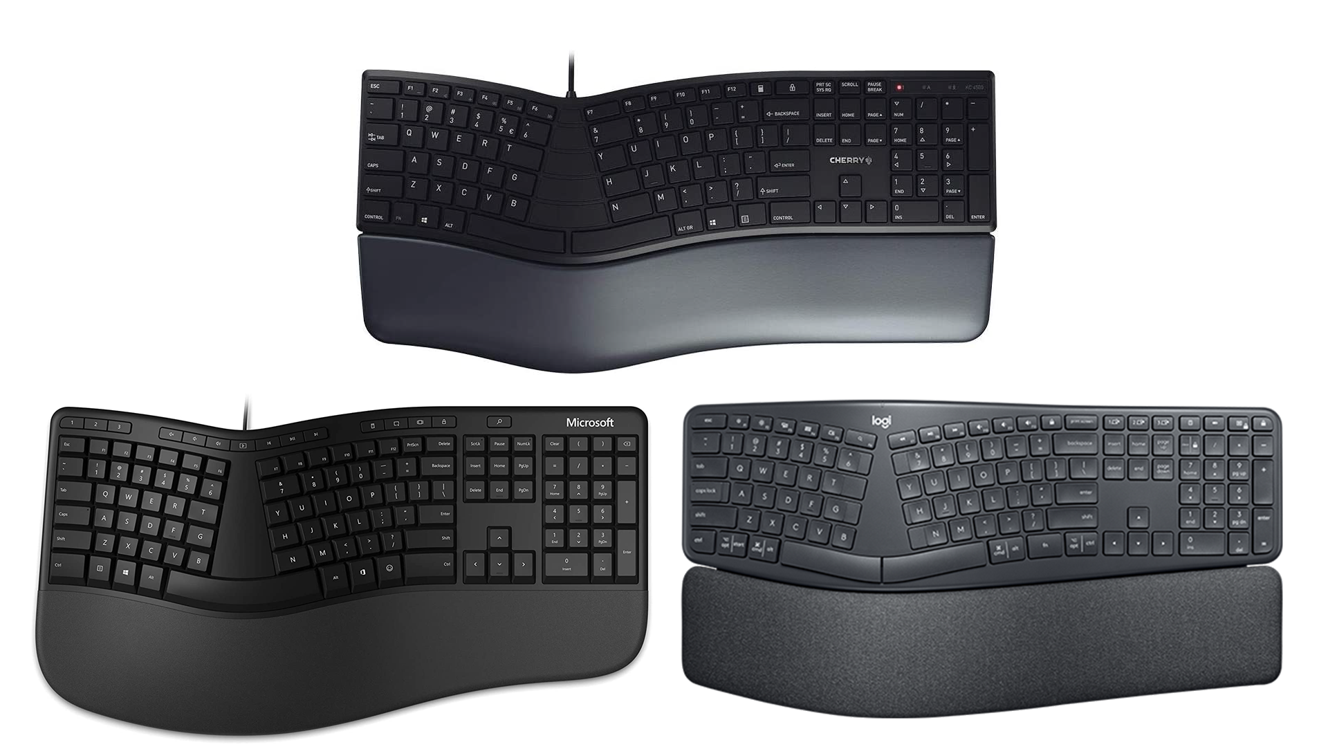 Three keyboards that appear to be similarly shaped.