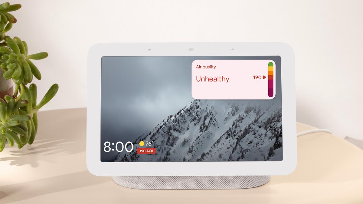 Google Nest Hub displaying air quality information