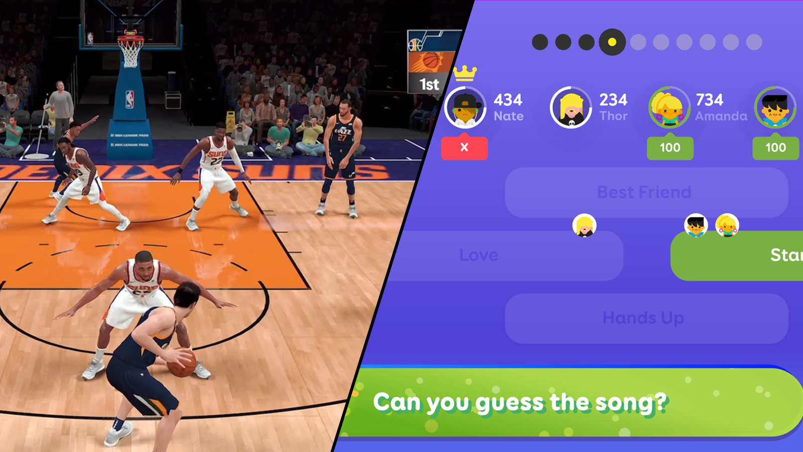 Splitscreen view of basketball game in NBA 2K21 and music question in SongPop Party