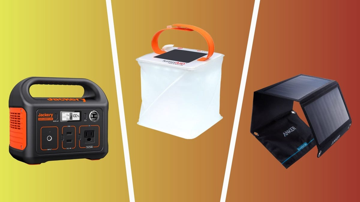 best camping gadgets you must have, including jackery power station, luminaid solar lantern, and anker solar charger