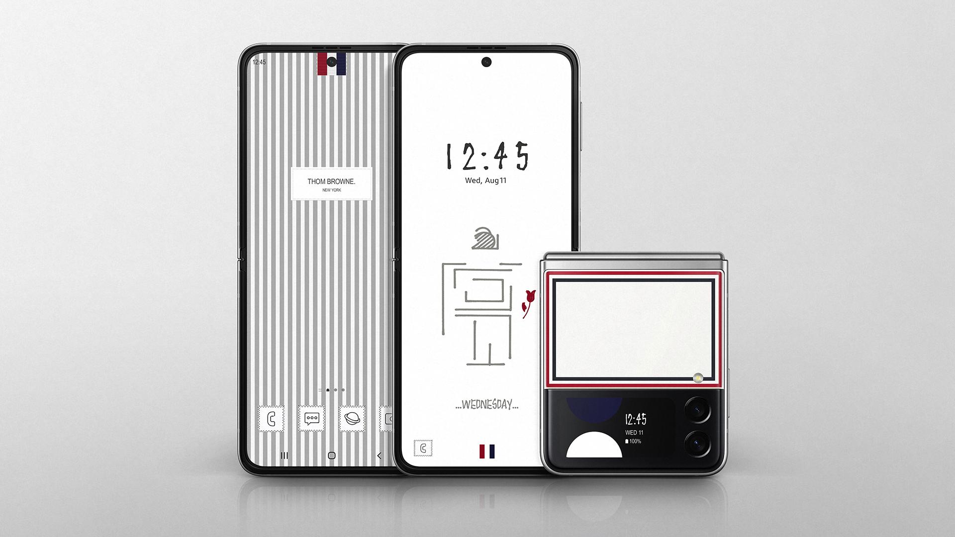 Thom Browne version of the Samsung Galaxy Flip3.