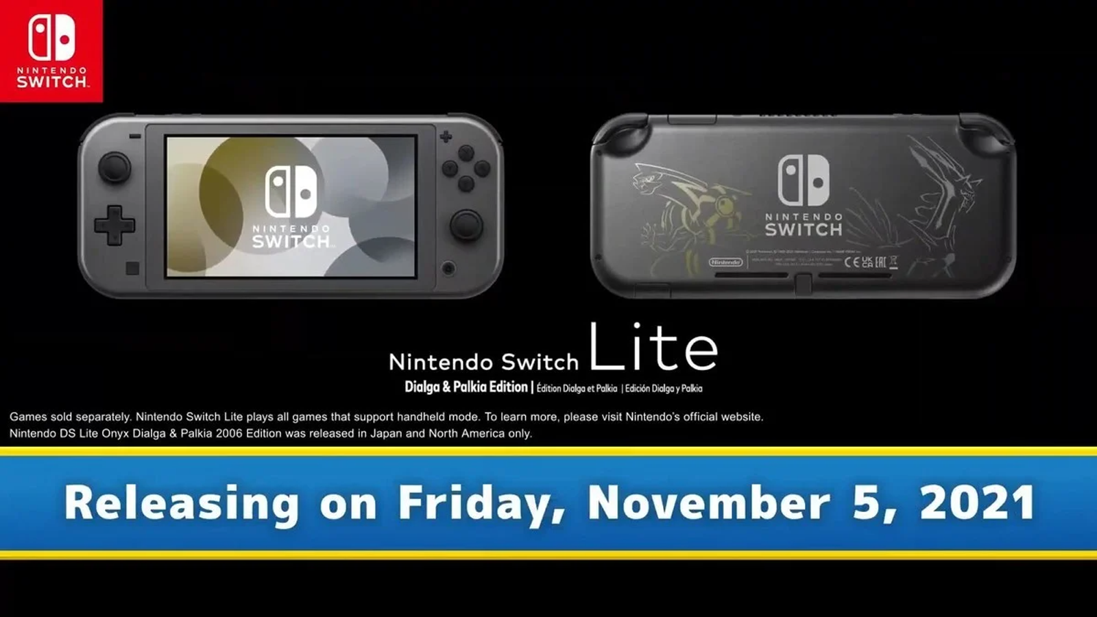 Nintendo Switch Lite special edition with dialga and palkia etched on back