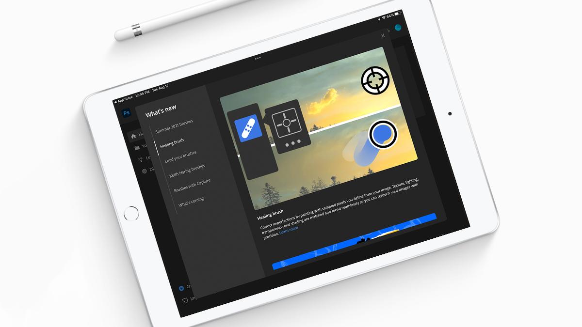 Photoshop's new Healing Brush tool on an iPad.