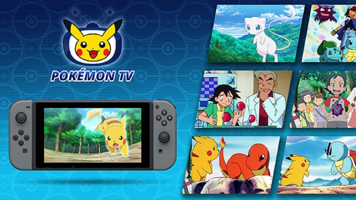 Pokémon TV logo above a Nintendo Switch with scenes of Pokémon series