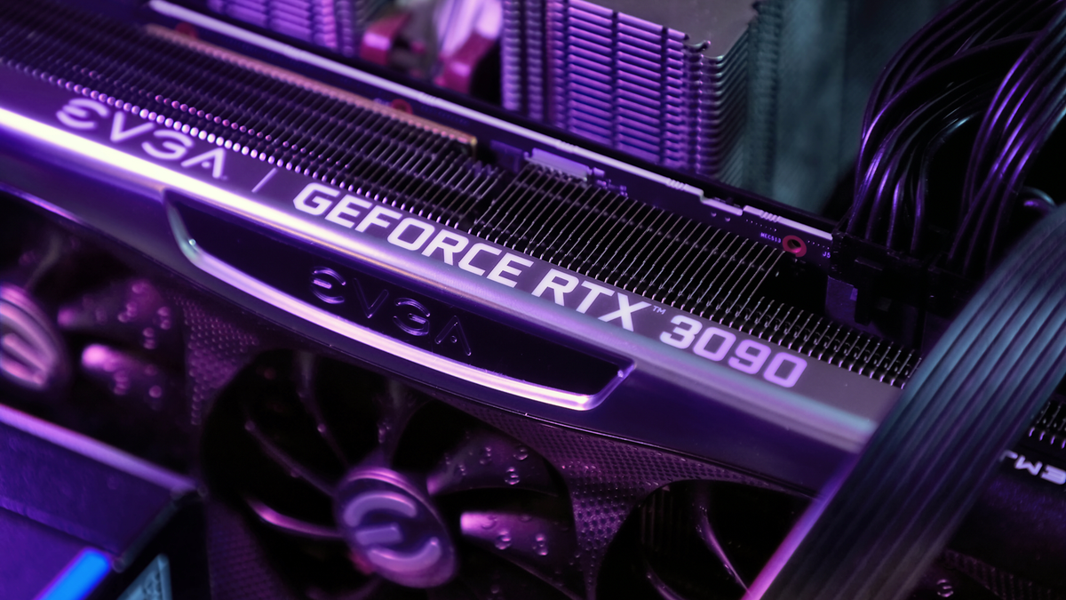 NVIDIA GeForce RTX 3090 graphics card in fancy purple computer setup