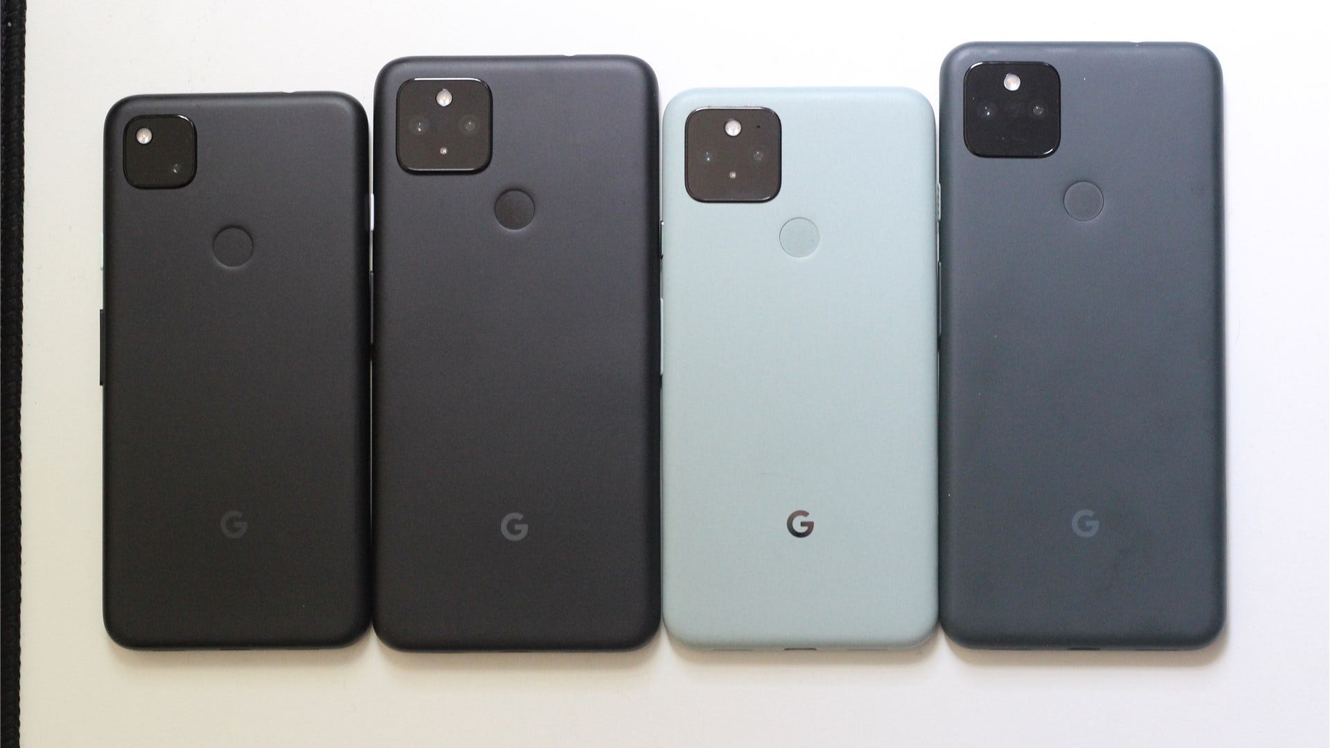 The Pixel 4a, 4a 5G, 5, and 5a side by side