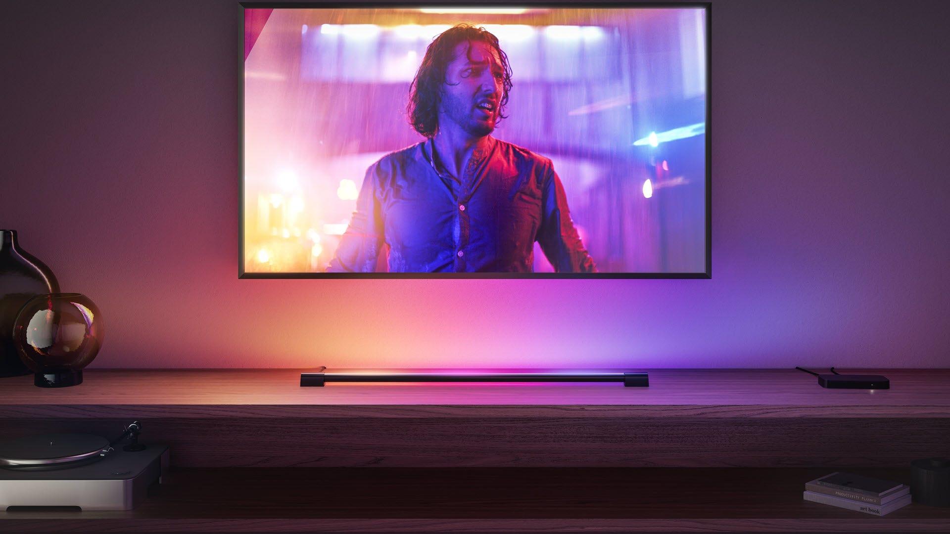 A bar of light below a tv.