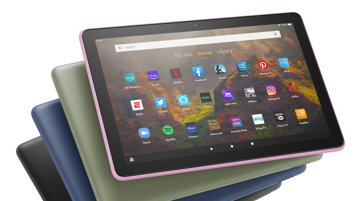 Amazon's Fire HD 10 Tablet in all colors.