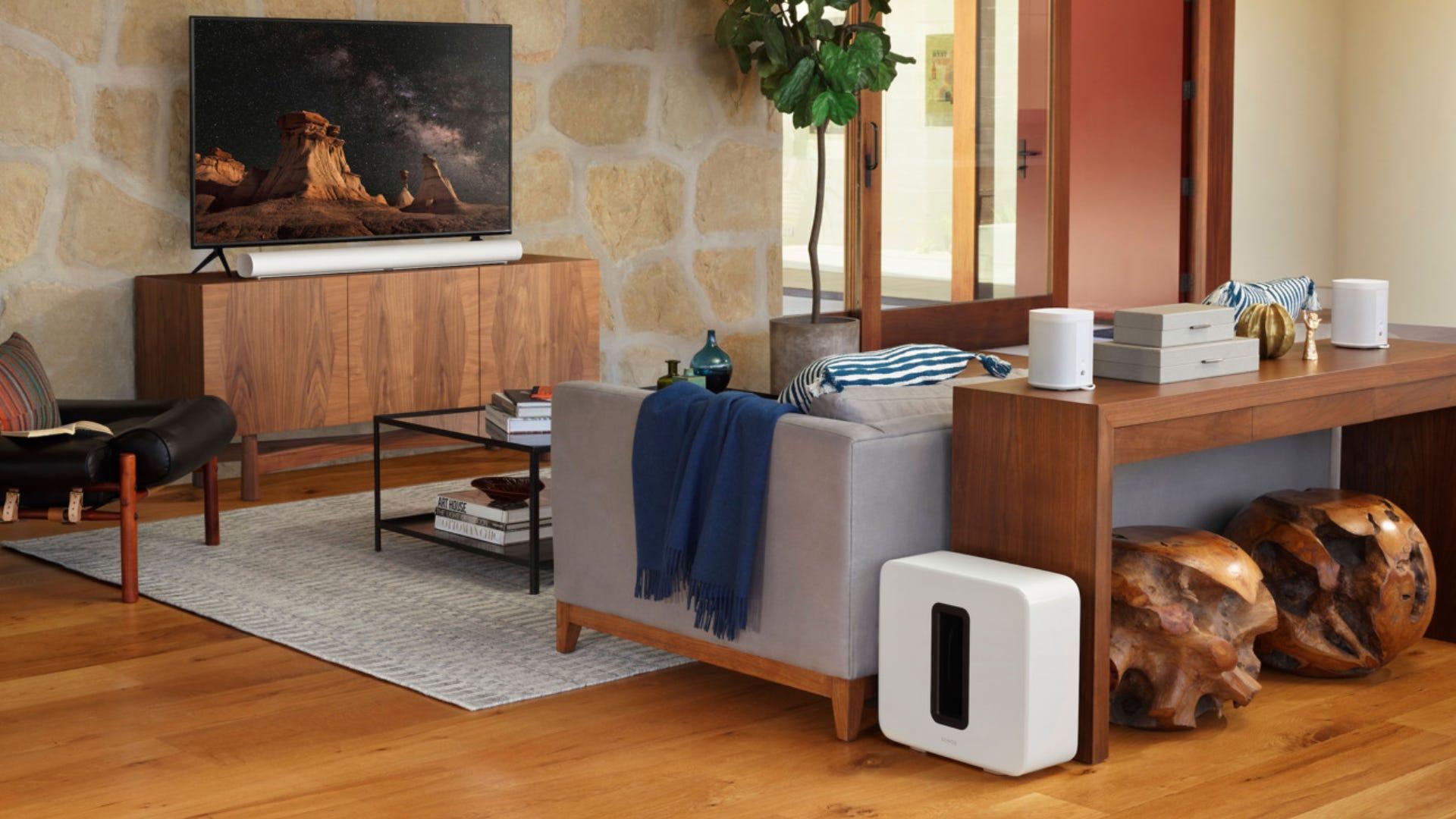 Sonos ARC soundbar + subwoofer in a living room
