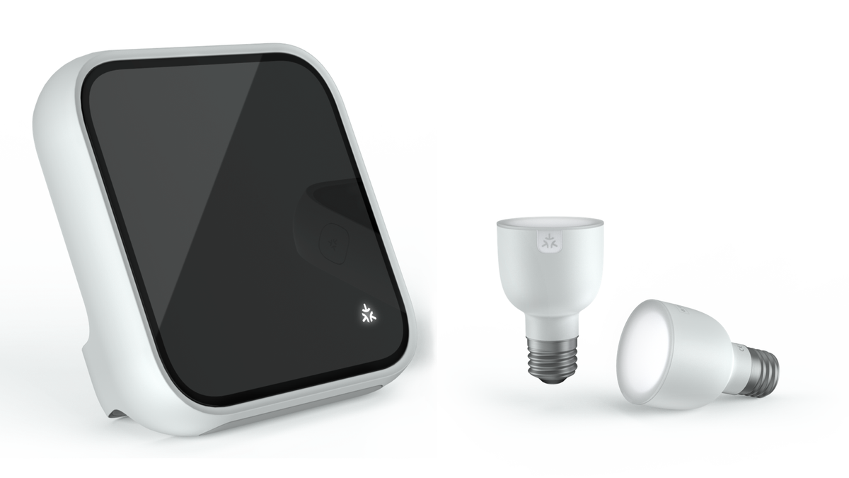 A proposed Matter smart display and light bulb bearing the Matter logo