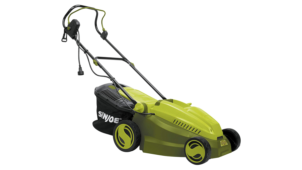 The Sun Joe electric mower.