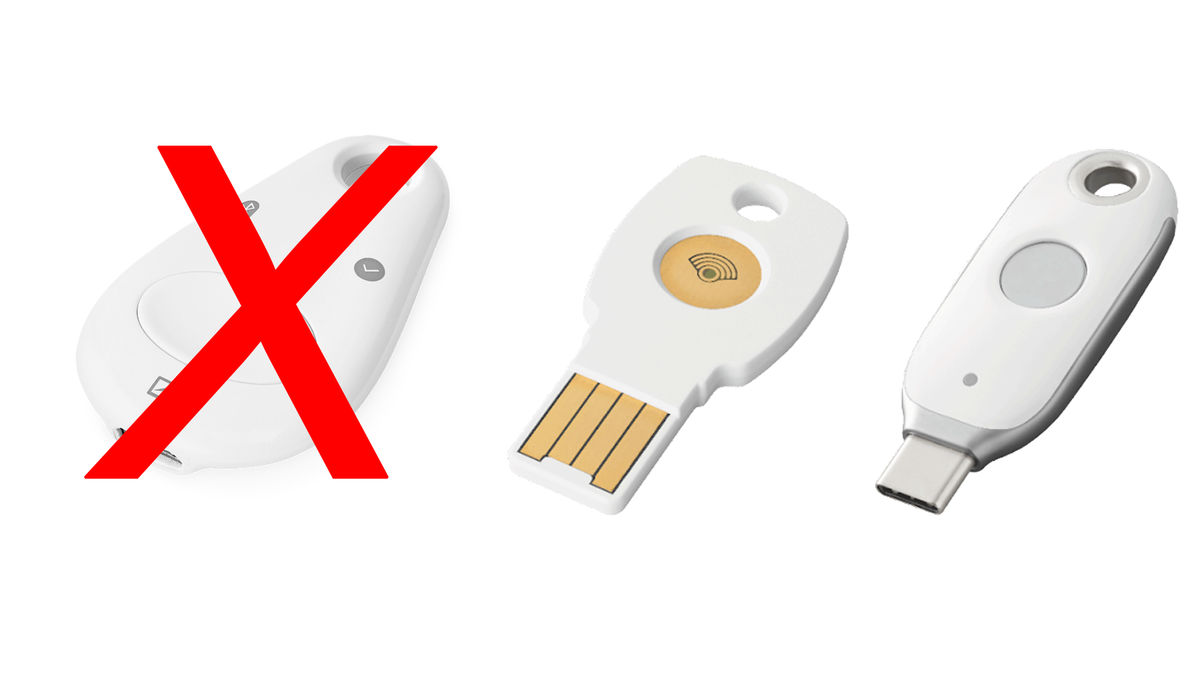 Google's Titan security key lineup with a big X through the discontinued Bluetooth model.