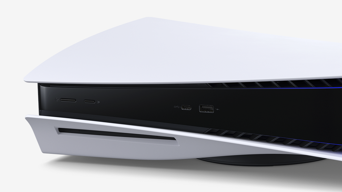 A close-up of the PlayStation 5's face.