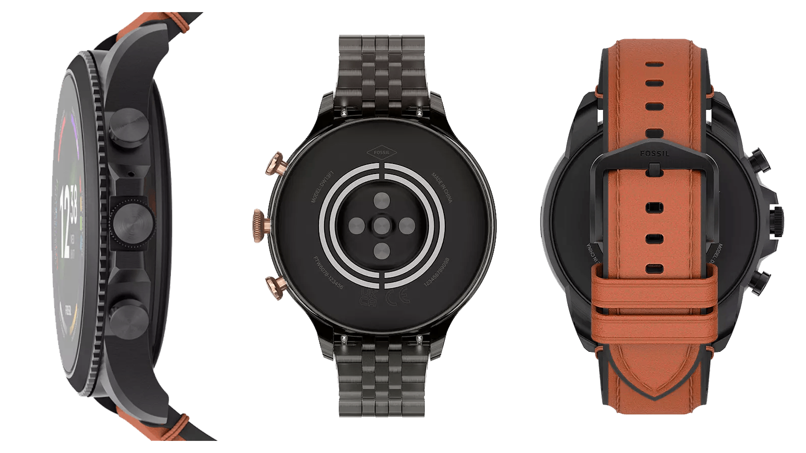 Side, rear, and rear with wristband views of the Fossil Gen 6 smartwatch