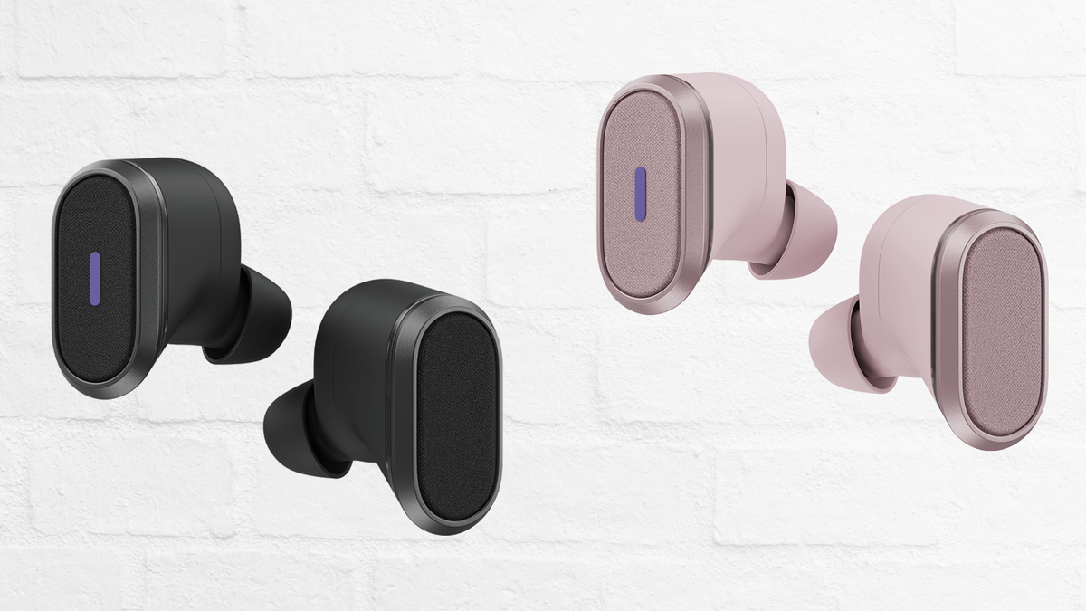 Logitech's Zone True Wireless Earbuds in graphite and rose against a white brick textured background
